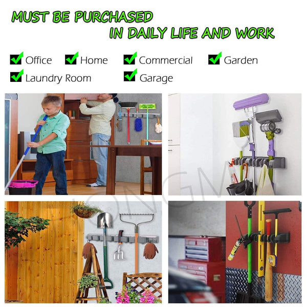 Shop here mop and broom holder 5 position with 6 hooks organizer wall mount command and garden tool organizer for rake or rop garage storage systems holds up to 11 tools strong grip life time guarantee