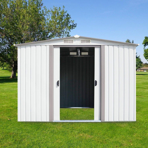 Exclusive wonlink heavy duty outdoor steel garden storage utility shed backyard lawn building garage white warm gray 8 by 8 feet