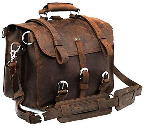 Men's Retro Full Grain Leather Briefcase Shoulder Messenger Bag Briefcase Multi-Functional