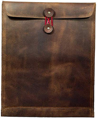 Leather Document Holder Mailing Envelope,Office & Work Resume Sales Portfolio Binder Folder-Interview/Legal Document Organizer Handmade (Bourbon Brown)