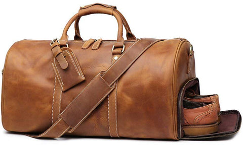 Genuine Leather Vintage Travel Unique Luggage Bag, Mens Duffle Retro Carry on Handbag 22 Inches (Brown)