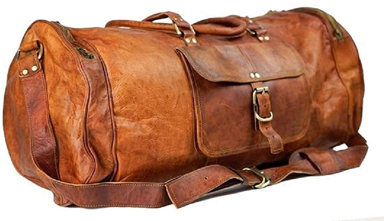 Pure Light-weight Vintage Leather bag 22 inch Duffel Carry Portable Bag (22 inch)