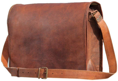 Pure Rustic Leather Vintage Genuine Leather Cross-Body Messenger Satchel Bag (11.3 Inches with Extra Padding)