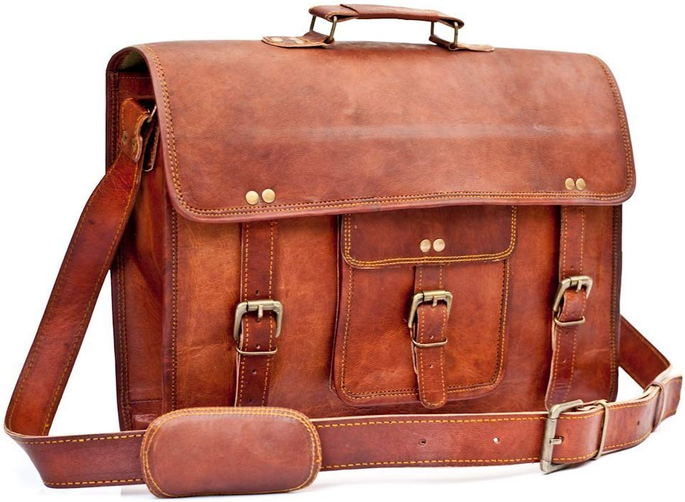 Lightweight Buffalo And Horse Unique Hunter Leather Bag Satchel Bag Best Christmas Gift- Fits Laptop Upto (15.6 Inches)