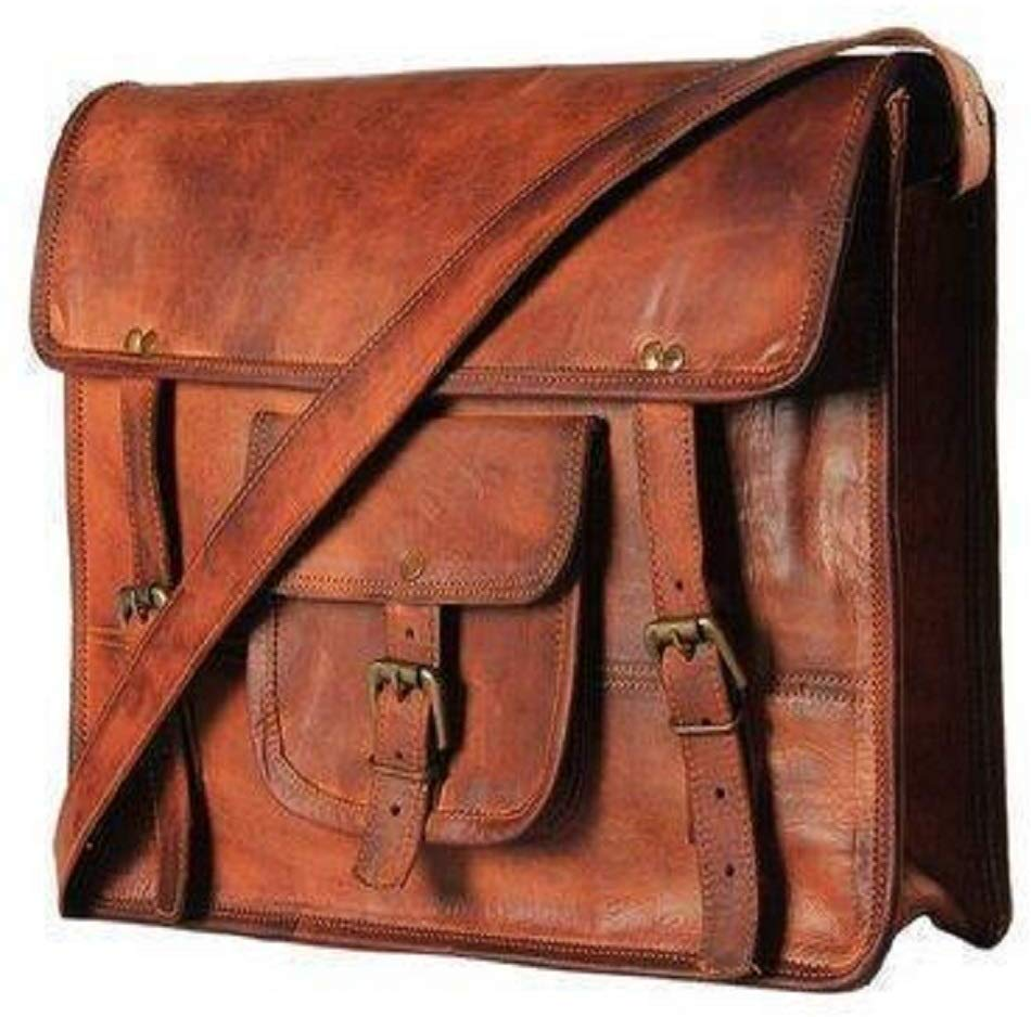 Pure Leather Genuine Unisex Cross-Body Vintage Leather Messenger Satchel Crossbody Bag- Fits Laptop Upto (15 Inches)
