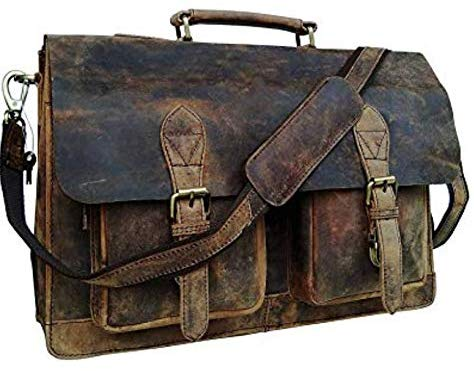 Genuine Retro Buffalo Hunter Leather Laptop Messenger Bag Office Briefcase College Bag Leather Bag for Men and Women