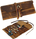 Leather Tool Roll Up Pouch - Leather Tool Pouch Wrench Roll/Chisel Bag (Brown)