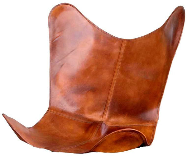 Leather Living Room Chairs Cover-Butterfly Chair Brown Cover-Handmade Genuine Leather Cover light brwon (Only Cover)