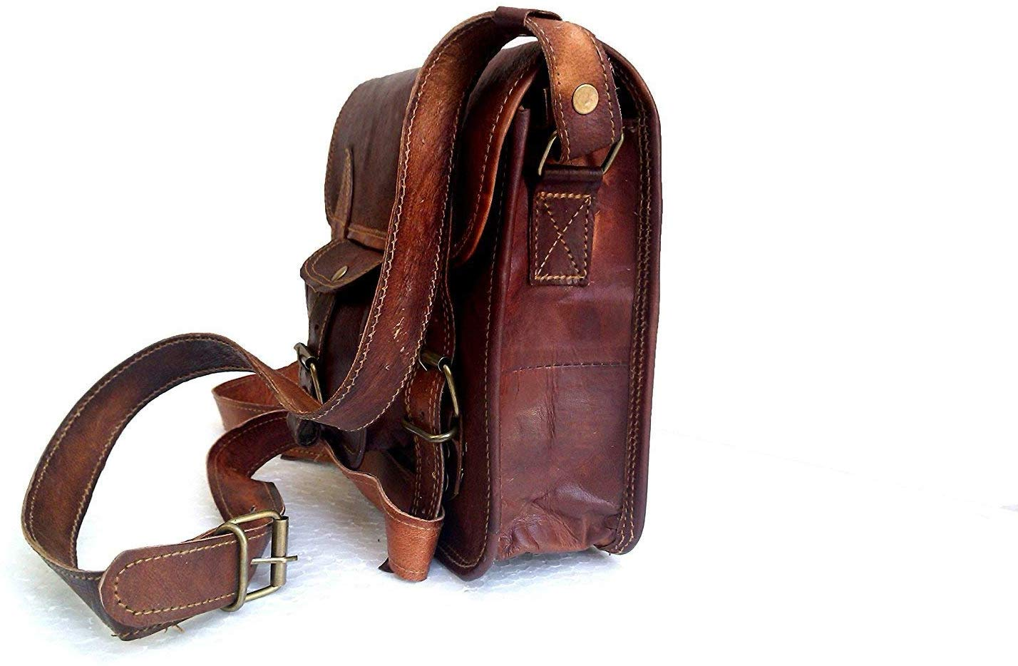 Genuine Leather Bag Laptop Vintage Messenger Bag Handmade Unisex Fits Laptop Upto (11 Inches)