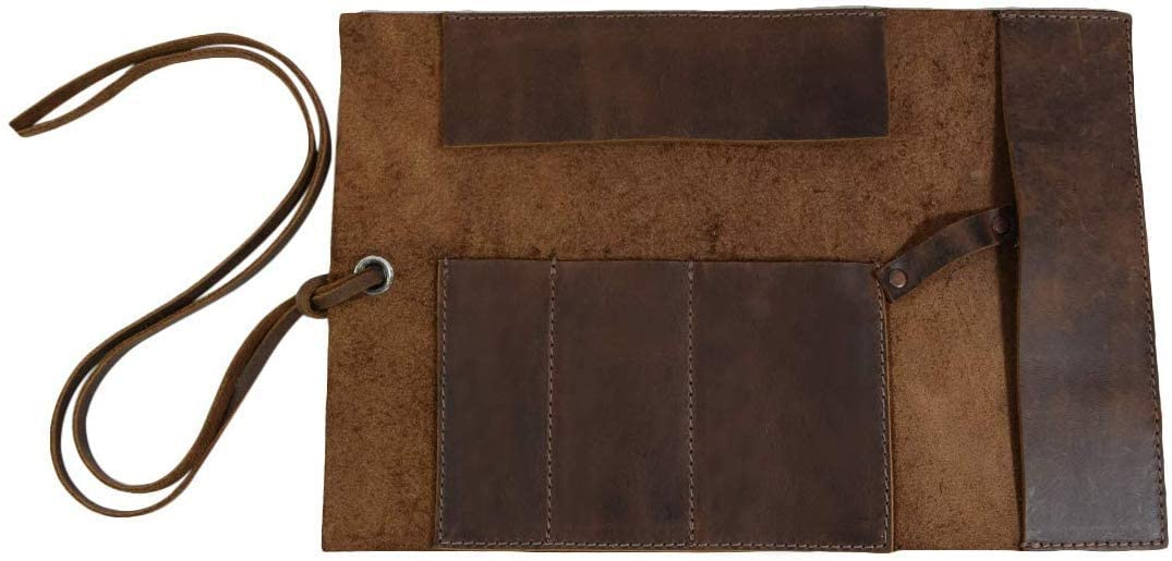 Leather Pencil Roll Pouch/Multi Purpose Organizer Wrap for Craft/Work/Study Handmade (Brown)