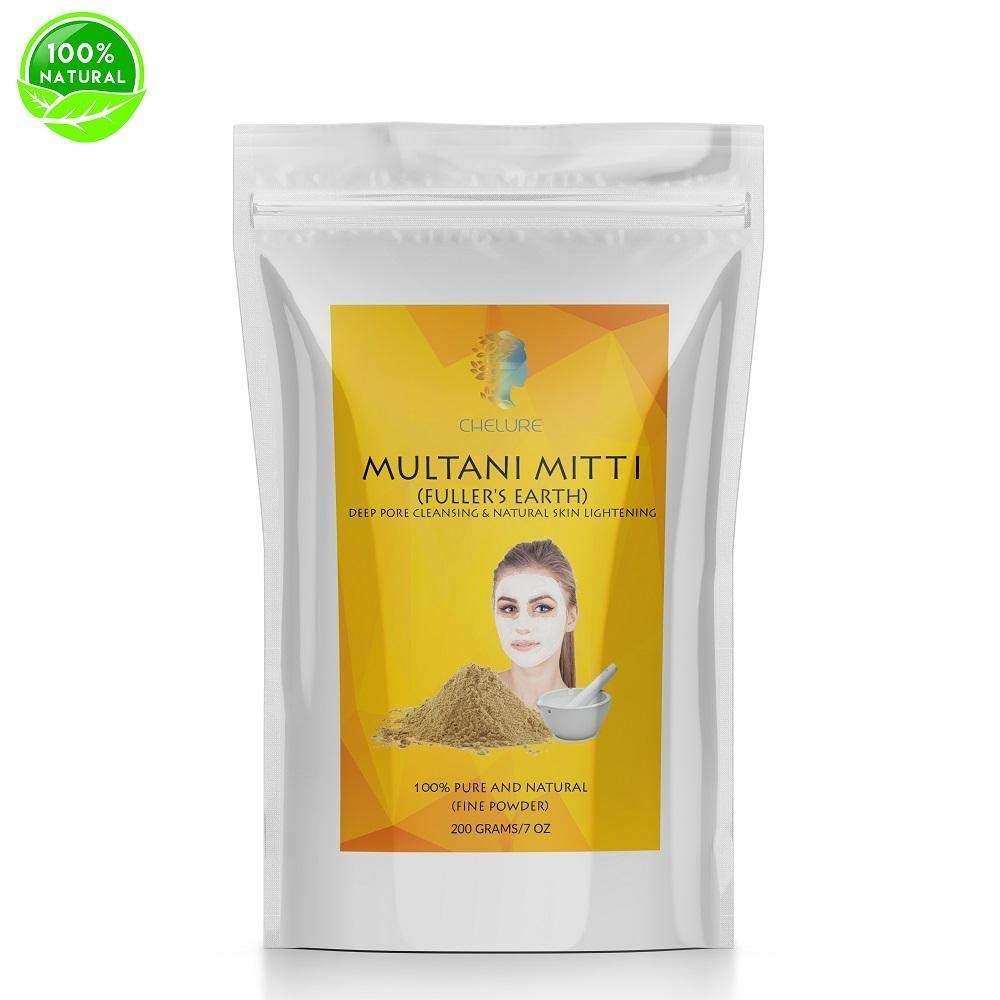 Chelure 100% Pure Natural Processed Fuller's Earth Clay (Multani Mitti) Bentonite Clay For Face Mask 200 gms 7 Ounces