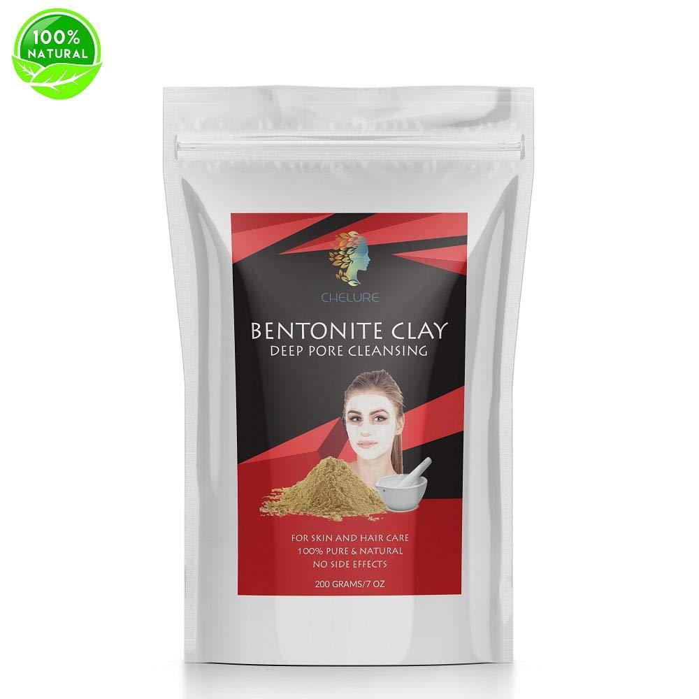 Chelure Indian Healing Bentonite Clay Mask - Detoxifying Facial Mask Acne Scar Removal Treatment for Hair & Skin, Face Care Masks Natural Deep Cleansing, 7 Oz