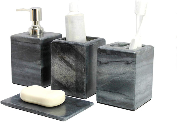 Bathroom Accessory Set Made from Natural Stone - Bath Accessories Set of 4 Includes Soap Dispenser, Toothbrush Holder, Tumbler and Soap Dish (Grey)