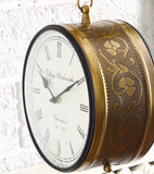 Brass Finish Antique Style Round Hanging Wall Mount Home Decor Double Side Wall Clock Creative Classic Clocks