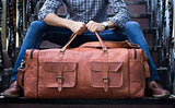 Handmde Vintage Real Leather Duffel Bag Large Travel Bag Gym Sports Overnight Weekender Air cabin Bag Double Pocket (30 inch)