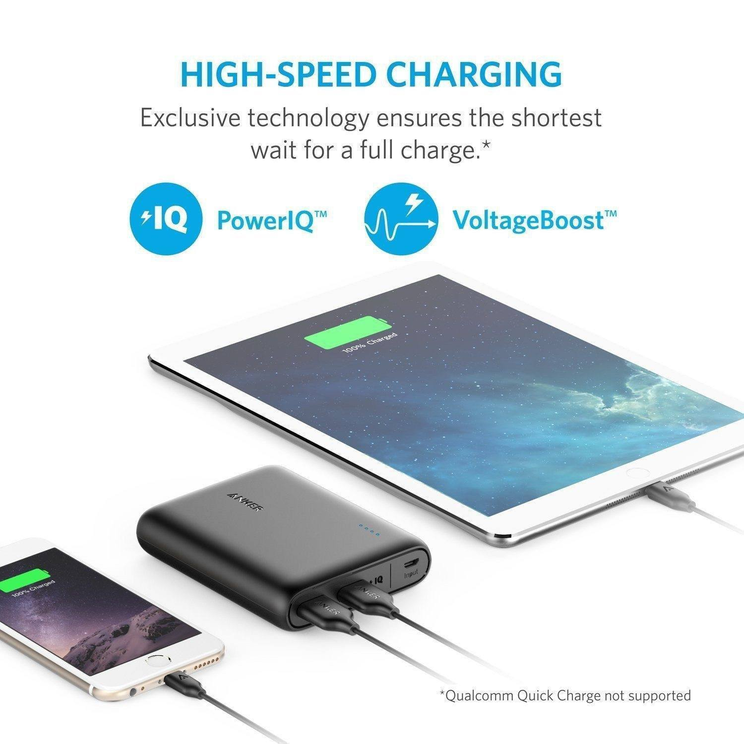Anker 10400 Portable Charger - 2-Port Ultra Portable Phone Charger Power Bank With PowerIQ And VoltageBoost Technology For IPhone, IPad, Samsung Galaxy And More