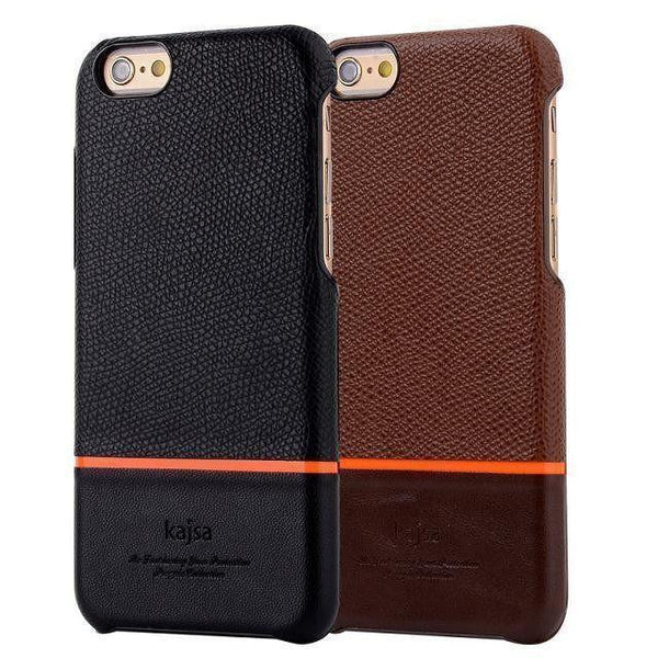 Back Cover - Genuine Kajsa Case For IPhone (Pure Leather)-BLACK