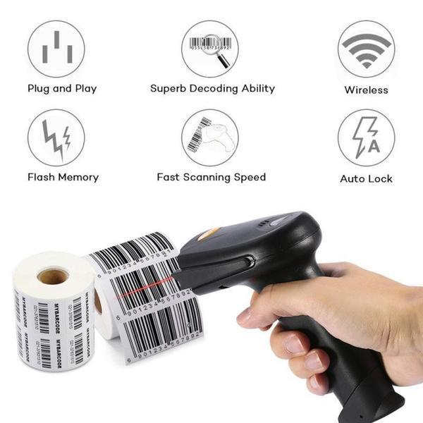 TUZECH Laser 2D Wireless Barcode QR Scanner -Scans From Mobile - With Inbuilt Flash And Memory