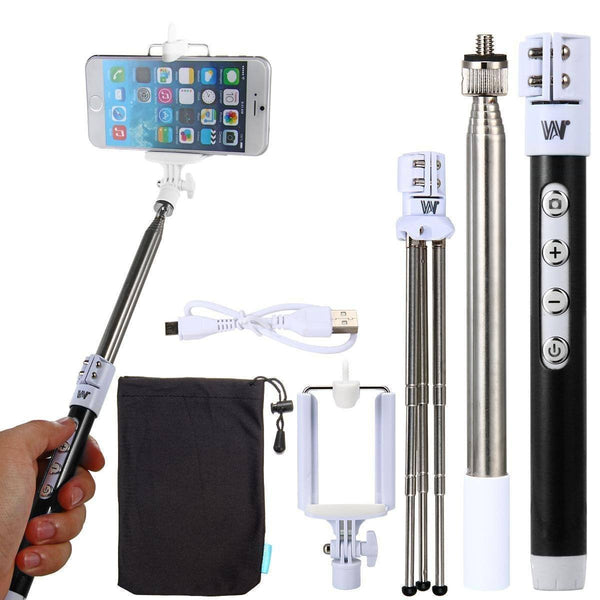 Dispho Carbon Fibre Inbuilt Bluetooth Selfie Stick With Tripod