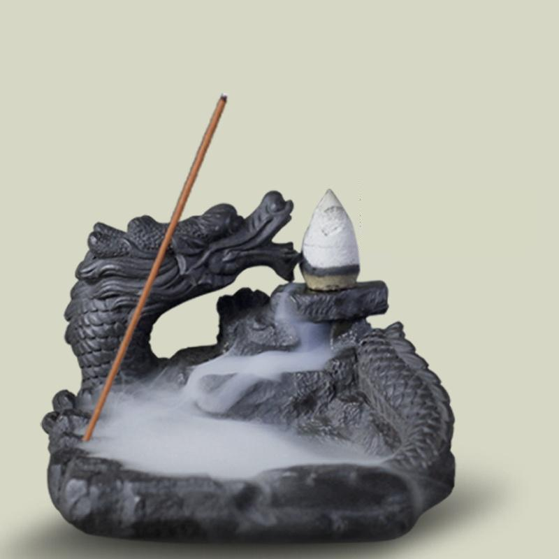 Incense Burner - Latest Dragon Styled Smoke Backflow Cone Incense Holder Decorative Showpiece