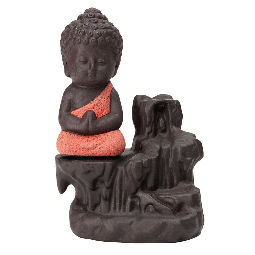 Incense Burner - Meditating Monk Buddha Smoke Backflow Cone Incense Holder Decorative Showpiece