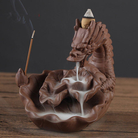 Incense Burner - Ultra-Large Real Dragon Styled Smoke Backflow Cone Incense Holder Decorative Showpiece