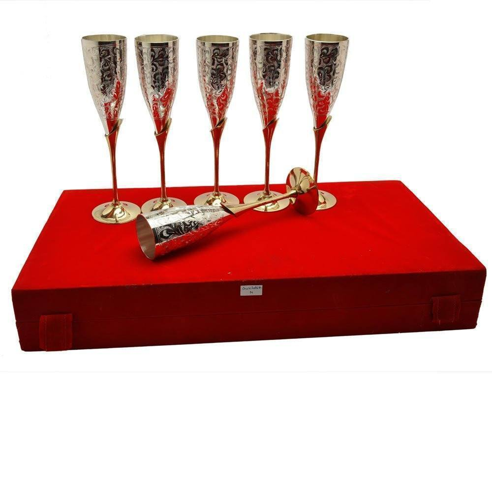 Silver Plated - IN INDIA Silver Plated Royal Brass Wine Glass Set Of 6