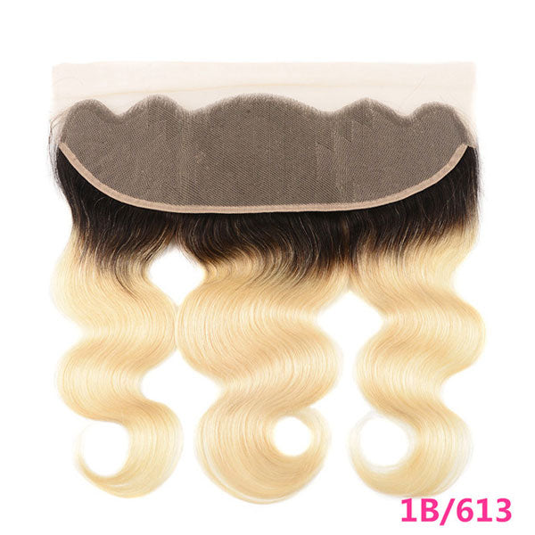 Brazilian Body Wave Lace Frontal Closure 13x4 Ombre T1b/613 Remy Human Hair
