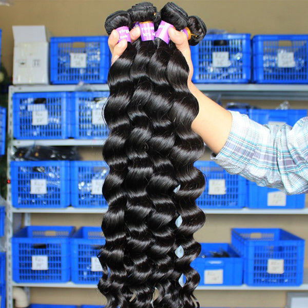 loose wave brazilian virgin human hair extensions remy hair weave wholesale