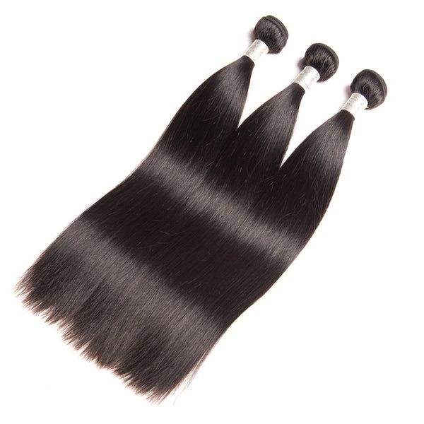 Brazilian Straight Virgin Remy Human Hair Extensions Bundles Weave Weft