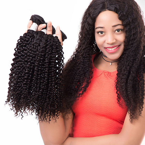 Kinky Curly Brazilian Virgin Human Hair Extensions Weave Bundles Weft