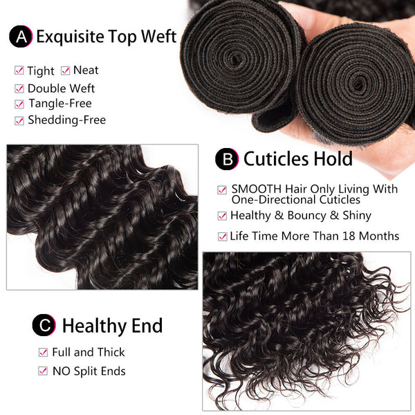 Deep Wave Brazilian Virgin Human Remy Hair Bundles Extensions Weave Weft