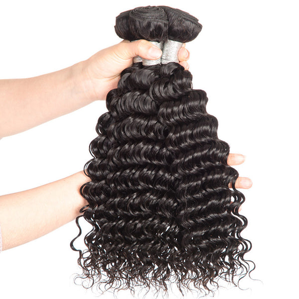 deep wave hair sample brazilian virgin remy human hair weaves extensions