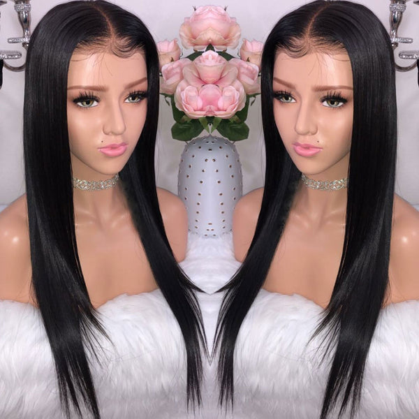 150 density virgin hair lace front wig