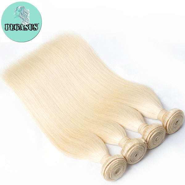 613 Blonde Straight Human Hair Brazilian Virgin Hair 3PCS - pegasuswholesale