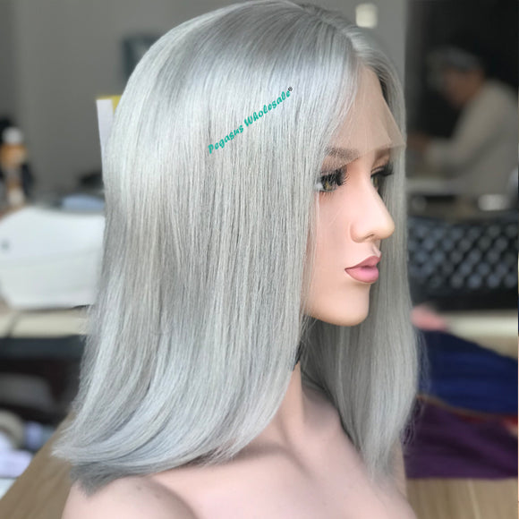 Grey Short Bob Lace Front Wig, 180% Density 【PEG012】 - pegasuswholesale