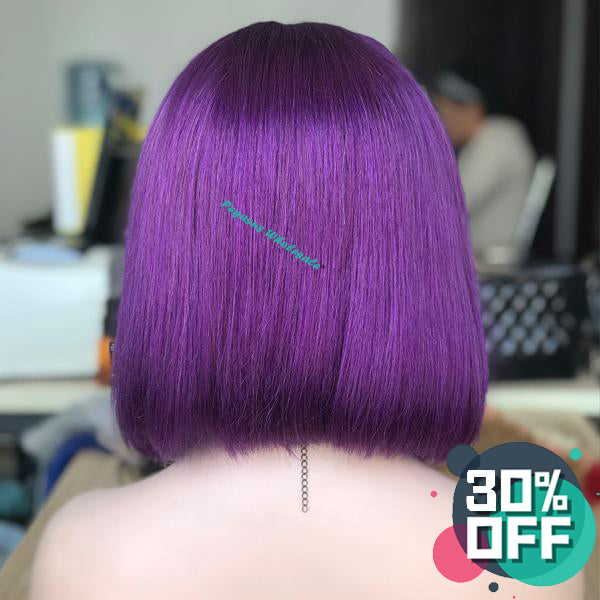 Purple Short Bob Lace Front Wig, 180% Density 【PEG014】 - pegasuswholesale