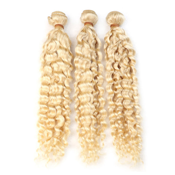 #613 color blonde hair Jerry Curl 3 BUNDLES - pegasuswholesale