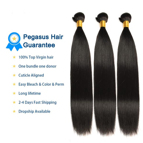 10A Raw Virgin Hair Straight 3/4 Piece Brazilian Human Hair - pegasuswholesale