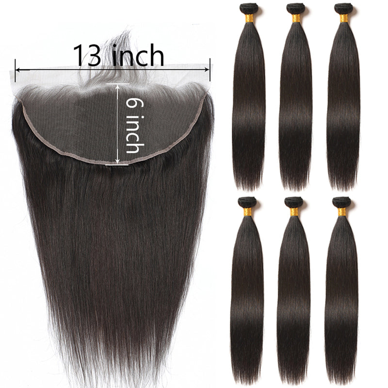 13X6 Transparent Lace Frontal With 2/3/4 Bundles Brazilian Straight Human Hair - pegasuswholesale