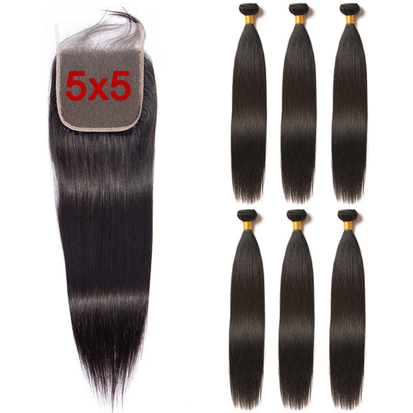 Straight 3 Bundles With 5x5 Closure Brazilian Hair - pegasuswholesale