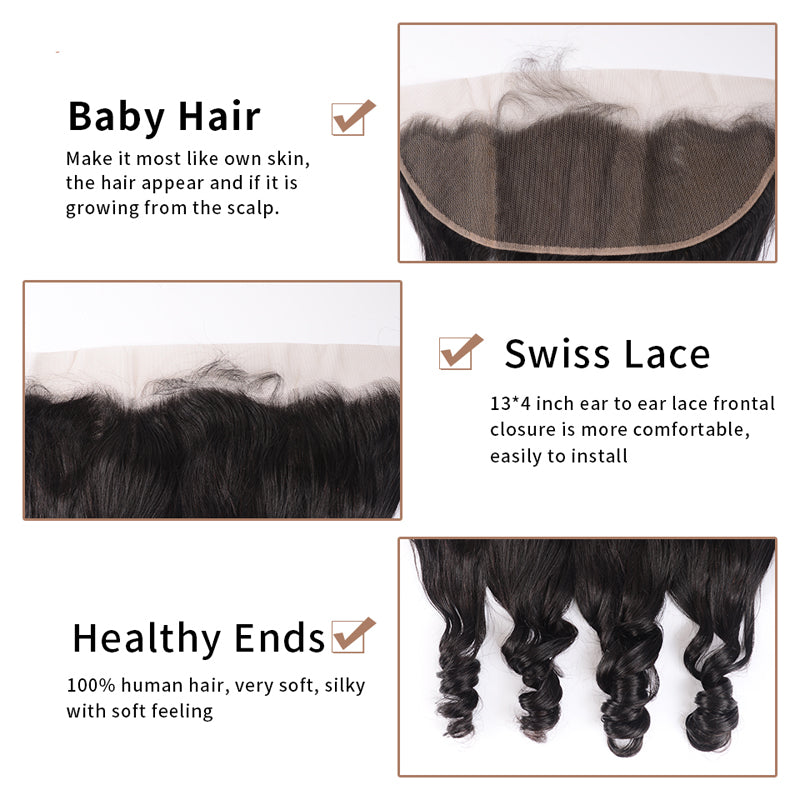 Loose Wave 3 Bundles With Frontal 13*4 Inch Brazilian Hair Weave - pegasuswholesale