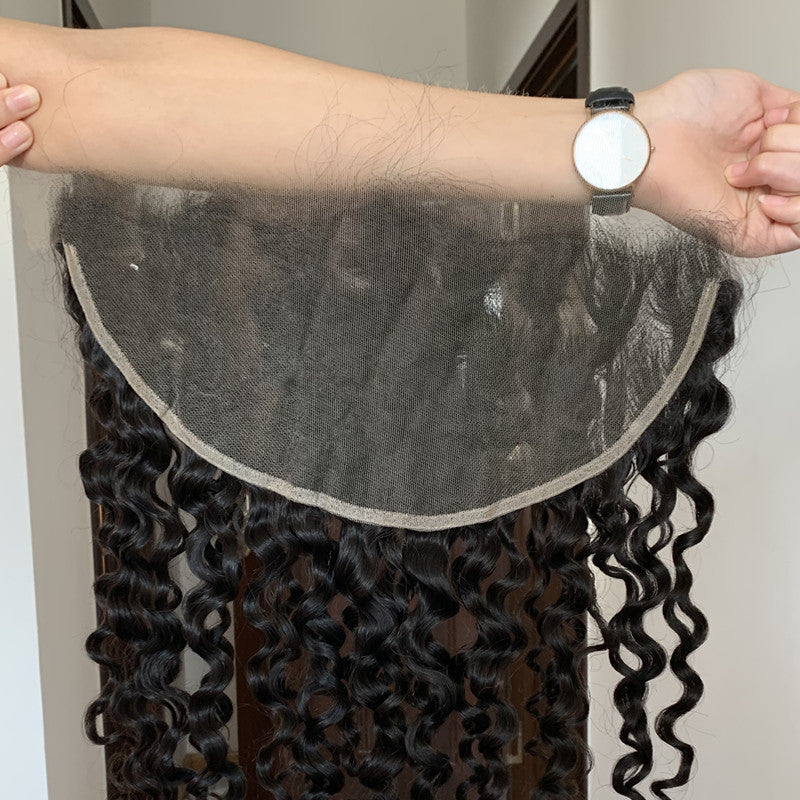 DEEP WAVE CURLY HD LACE HIGH DEFINITION SWISS LACE 13X4 LACE FRONTAL CLOSURE - pegasuswholesale