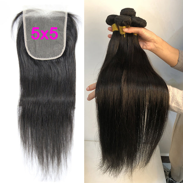 5x5 Transparent Lace Closure With 3 Bundles Brazilian Straight - pegasuswholesale