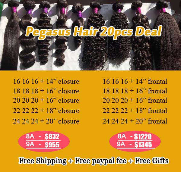 20pcs Deals Bundles With Frontal Closure 8A 9A Grade Hair - pegasuswholesale