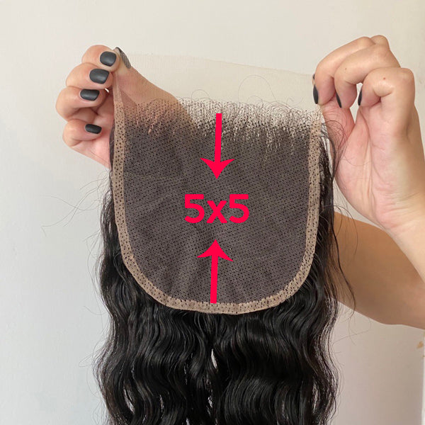 "5x5"" HD Swiss Lace Closure Natural Wave Brazilian Hair - pegasuswholesale"