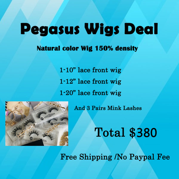 3 Lace Front Wigs Deal Brazilian Human Hair 150% Density - pegasuswholesale
