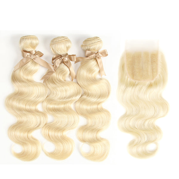 "613 Blonde Body Wave Bundles with 4x4 5x5"" Closure - pegasuswholesale"