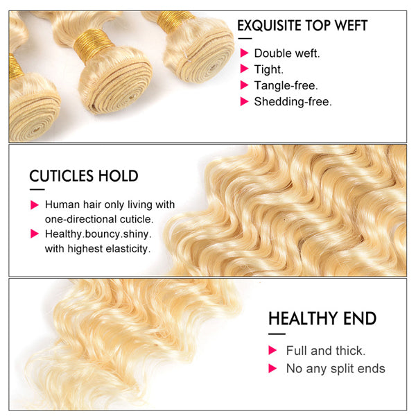 Deep Wave Blonde 613 Bundles With 4x4 5x5 6x6 Closure Brazilian Human Hair - pegasuswholesale