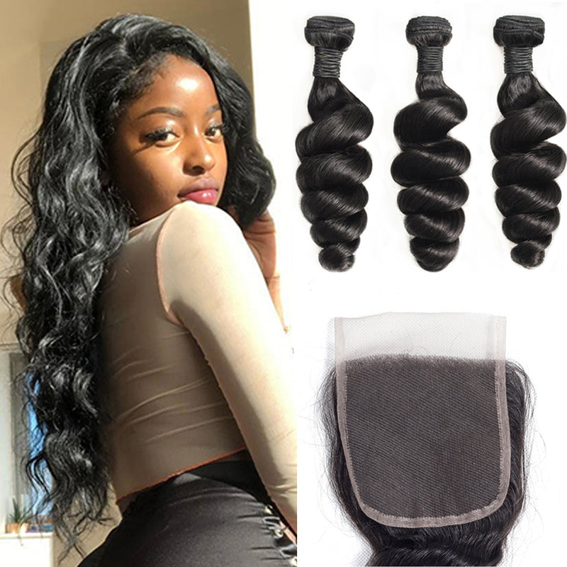 Loose Wave 3 Bundles With 4x4 Lace Closure Brazilian Hair - pegasuswholesale